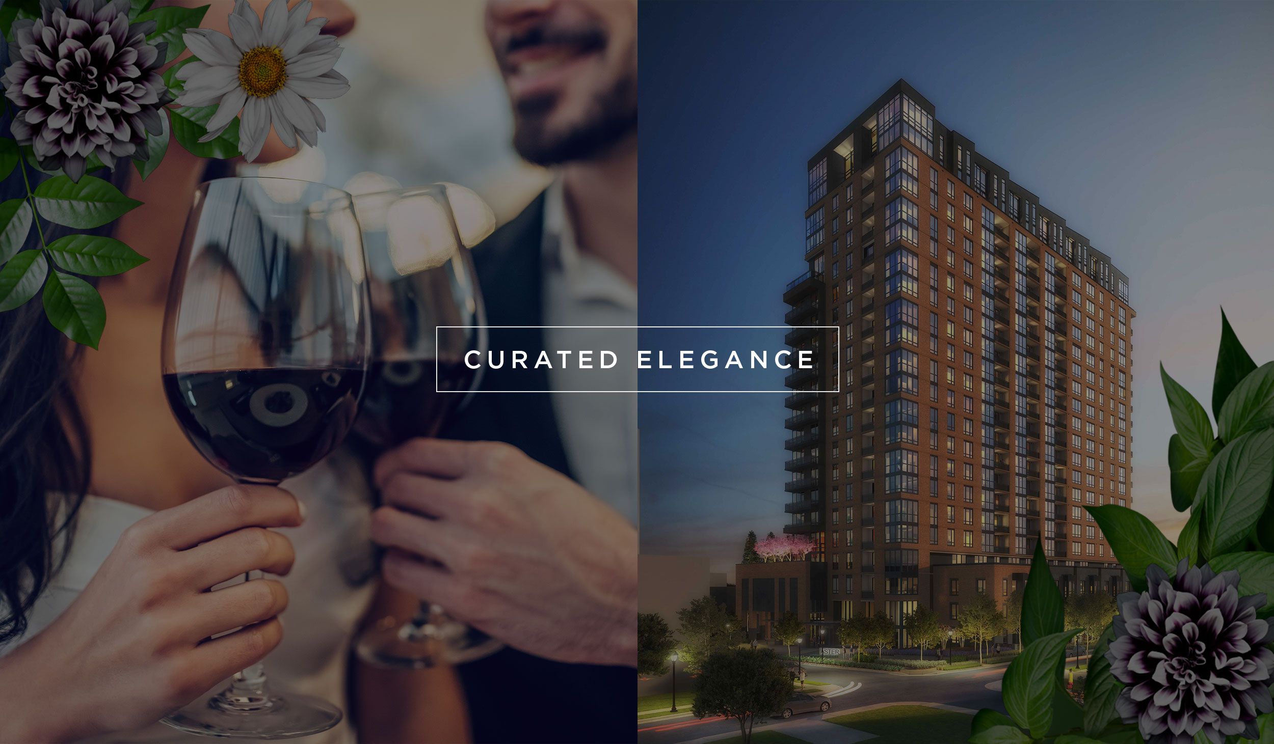 A side by side photo of two people with wine glasses and a rendering of Aster Turtle Creek luxury apartments with curated elegance in a text box.