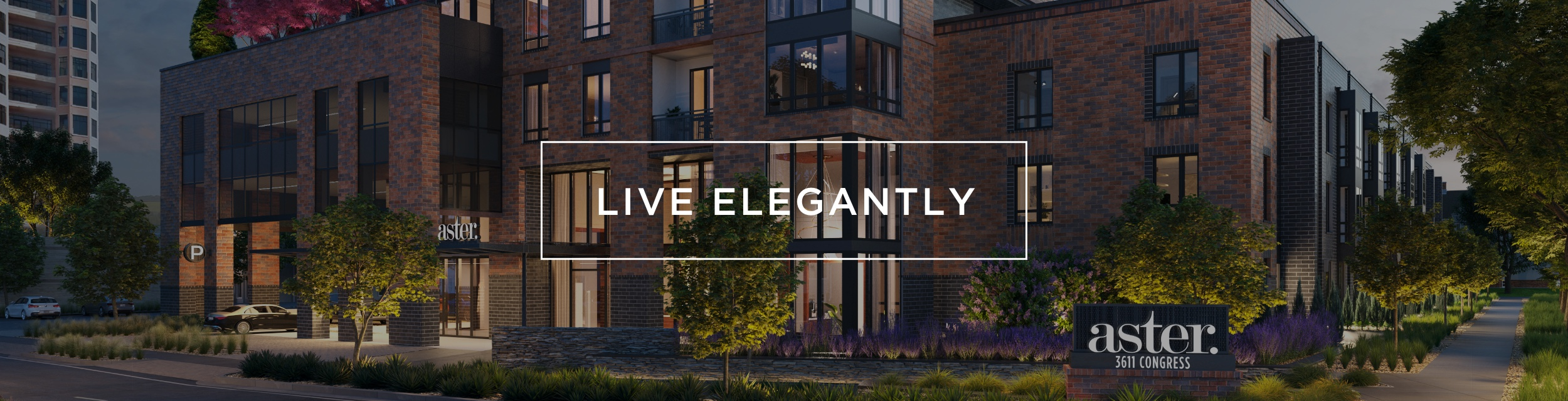 Aster exterior rendering with copy: Live Elegantly