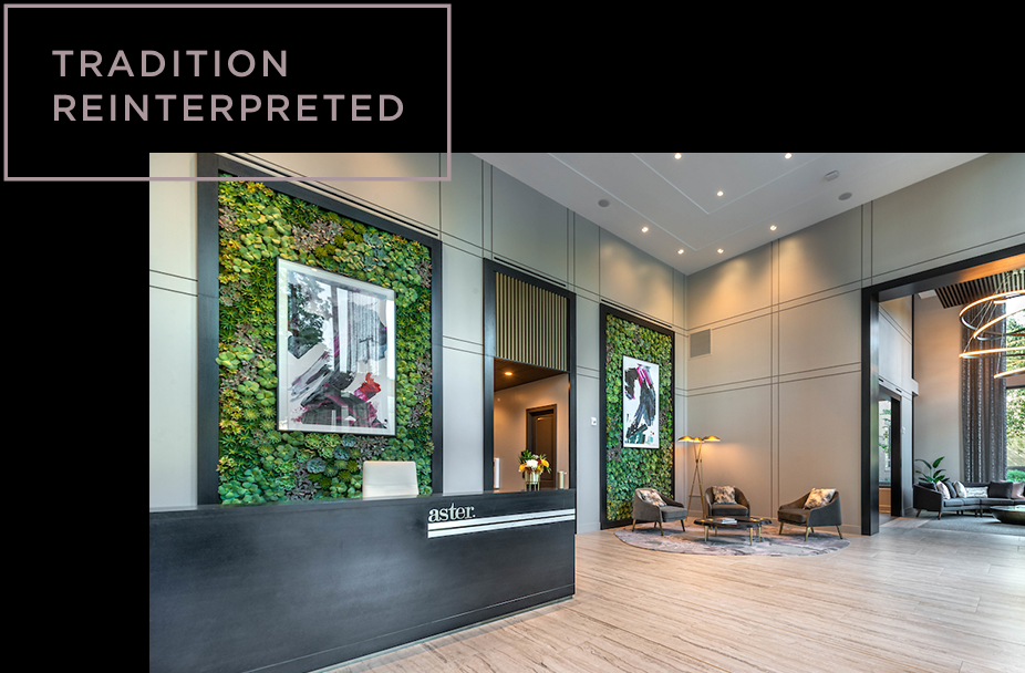 Aster Turtle Creek lobby with living wall and art. Copy: Tradition reinterpreted.