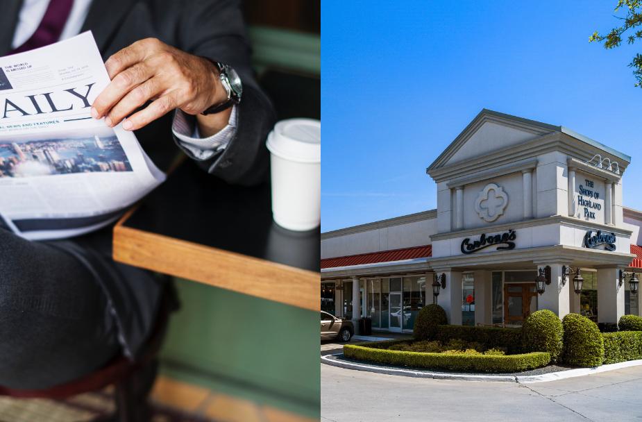 Split image of man reading news and Shops of Highland Park